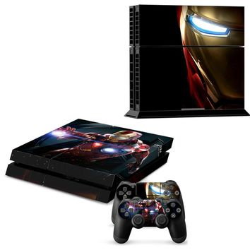Iron Man Sticker Skin Decal with 2Pcs Controller Skin Decal Decoration Protective Skin For Sony Playstation PS4 Console