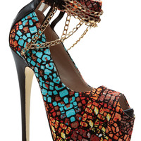 Yellow Mosaic Draped Chains Peep Toe Stilettos