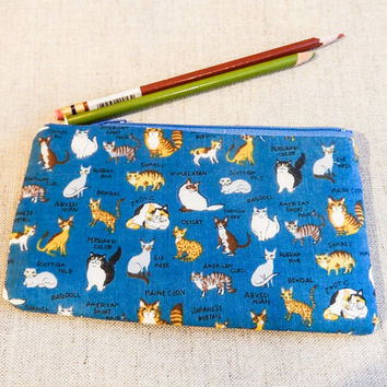 Gift for Cat Lover - Cat Zipper Pouch - Cat Cosmetic Case - Cat Gift - Cat Pencil Pouch - Cat Mothers Day Gift - Cat Fabric Pouch - Cat Case