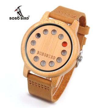 BOBO BIRD Bamboo Quartz Watch 12 holes Face With Red Black Pointer