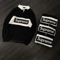 Supreme Fashion Lapel Long Sleeve Pullover Top Sweater