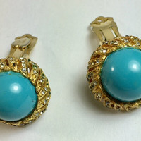 Faux Turquoise Earrings with Rhinestones Signed Gold Tone Vintage