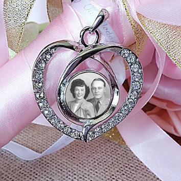 Bouquet Photo Charm Wedding Pendant With Snap In Interchangeable Bridal Memorial
