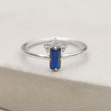 Baguette Crown Ring - Silver + Blue