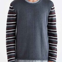 Commerce Reverse Pattern Sleeve Crew Neck Sweater- Grey
