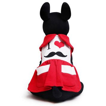 Cute mustache pet cat dog Tutu skirt dog Princess party Dress with pocket chihuahua poodle dog puppy clothes for small dogs