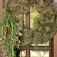 Woodland Burlap Wreath - Natural Burlap Wreath - Flower Wreath - Door Hanger - Woodland Door Decor - Burlap Wreath - Wreath - Home Decor