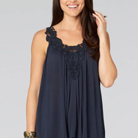 Navy Blue Knit Tank Top