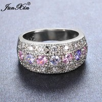 JUNXIN Brand Female Pink & Purple Round Ring 925 Sterling Silver Filled Vintage Wedding Engagement Rings For Women
