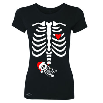 Zexpa Apparel™ Rib Cage Skeleton Baby Christmas Hat Women's T-shirt Baby Coming Tee