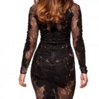 Clothing : Glamour Dresses : 'Nolita' Black Stretch Lace Long Sleeve Dress - Limited Edition