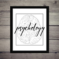 Psychology - Academic Print, Instant Download, Digital Art, Gift Printable, Desk Art, College, Science, Psychology, Brain, Poster, Decor