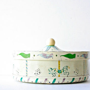Vintage Guildcraft Container Tin with Merry Go Round Horse Carousel Design, Pale Celery Green, Whimsical Kids Room Decor, Baby Decor