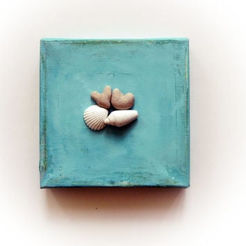 Unique Engagement Gift - Beach Finds Art Frame - Beach Heart pebbles Seashells Wall Decor Ready to Ship