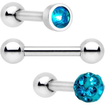 "16 Gauge 1/4"" Teal Faux Opal Inlay Cartilage Tragus Earring 3 Pack"
