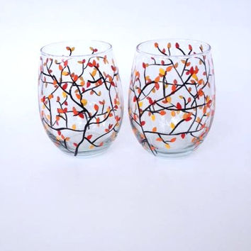 Autumn leaves hand painted stemless wine glasses SETof 2