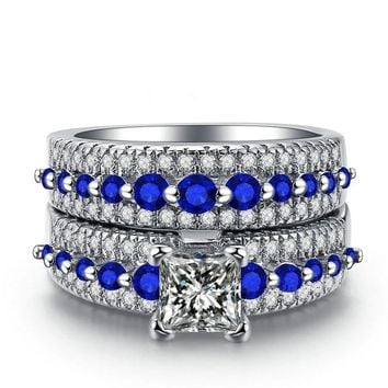 3 Pcs Silver Blue Color Crystal Rhinestone Stackable Ring Set