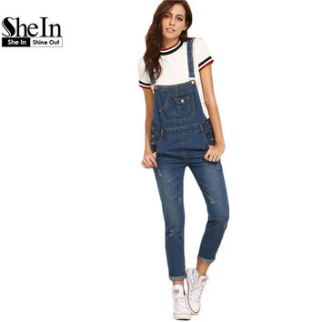 SheIn Women Rompers and Jumpsuits for Autumn Ladies Casual Sleeveless Dark Blue Straps Scratch Denim Overall Jumpsuit