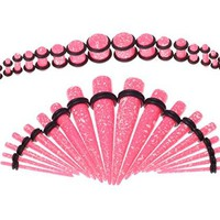 BodyJ4You Gauges Kit 18 Pairs Pink Paint Splatter Acrylic Tapers & Plugs 14G 12G 10G 8G 6G 4G 2G 0G 00G 36 Pieces