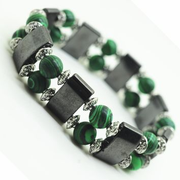 Magnetic Hematite Health Bracelet for women Men Black Magnetite Malachite Power Crystal healing Bangle