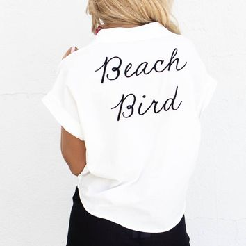 Beach Bird White Button Down Crop Top