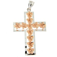 SOLID 14K ROSE GOLD HAWAIIAN PLUMERIA FLOWER WHITE GOLD CROSS PENDANT 21MM
