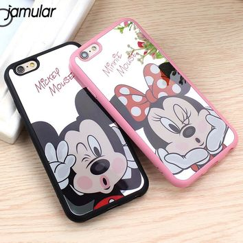 JAMULAR Mickey Minnie Mouse Mirror Case For iPhone 8 7 6s 6 Plus Silicone Cartoon Soft Cover for iPhone 6s 7 Plus Fundas Coque