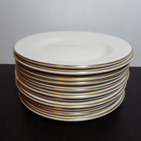 Vintage Buffalo China Restaurantware - White Dinner Plates with Gold Rims - Set of 11 - Sold as Set or Individually