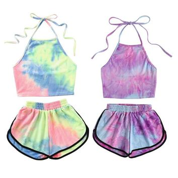 a4070451701 Womens Sexy Summer Two Piece Set Tie-Dye Gradient Colored Printe