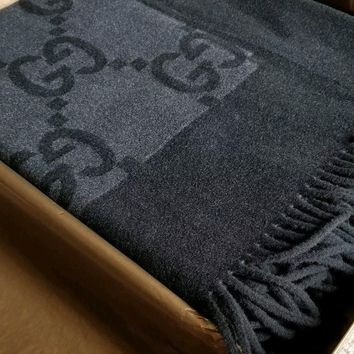 Gucci Brown/Beige Cashmere / Wool Throw Blanket 100% Authentic