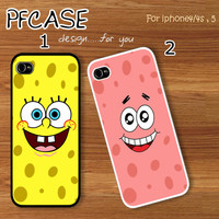 1.Spongebob face or 2.Patrick star face with summer beach style : Handmade Case for Iphone 4/4s , Iphone 5 Case Iphone
