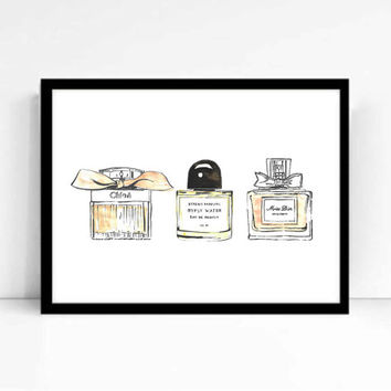 "Watercolor Fashion Illustration ""Perfume Addict"" Giclee Art Print Home Decor Wall Art"