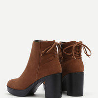 Lace Up Back Block Heeled Boots
