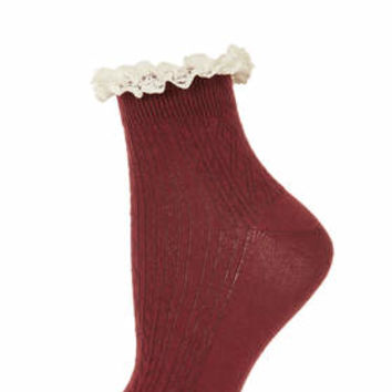 BURGUNDY LACE TRIM ANKLE SOCKS