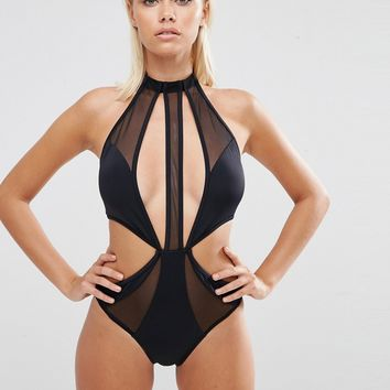 ASOS Choker Mesh Strappy Cut Out Swimsuit at asos.com