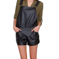New Kids Shorts Overalls - Black Leather
