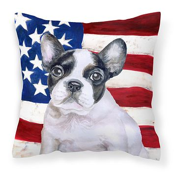 French Bulldog Black White Patriotic Fabric Decorative Pillow BB9710PW1414