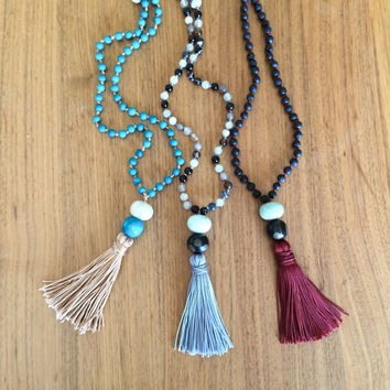 Long Beaded Necklace Tassel - Mala Necklace 108 Mala Beads Meditation Jewelry - Boho Jewelry Tassel Necklace Lava Stone and Amazonite