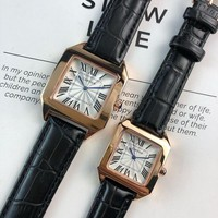 HCXX C049 Cartier Simple Leisure Fashion Automatic Leather Watchand Lovers Watches Black White