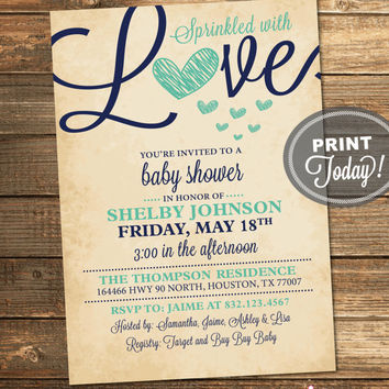 Sprinkled with Love, Baby Shower Invitation, Mint Green, Navy Blue, Girl, Boy, Neutral, Printable File (Custom Order, INSTANT DOWNLOAD)