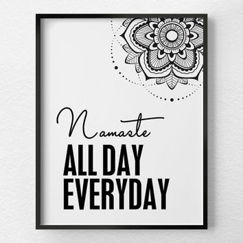 Namaste Print, Namaste Art, Yoga Print, Yoga Studio Decor, Black and White Art, Yoga Art, Namaste Poster, Yoga Poster, Yoga Gift, 0364