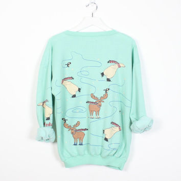 Vintage Mint Green Sweatshirt Polar Bear Moose Print Alaska Christmas Sweater Tacky Ugly Xmas Holiday Jumper 1980s Thin Hipster Tshirt M L