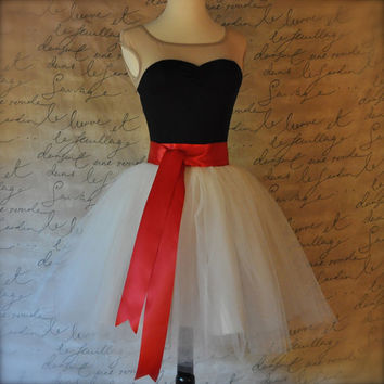 FREE SHIPPING 1/2 price SALE Ivory short tulle skirt with circle satin lining.  Red satin sash waist. On sale, ready to ship, one of a kind.