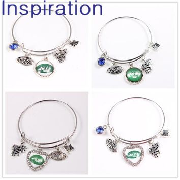 New York Jets Expandable Wire Charm Bangle Bracelet For USA Football Fans With 5 Charms Dangle Charm Bracelets 4pcs/lot