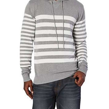 Gray/White Stripe Hooded Sweater Pullover