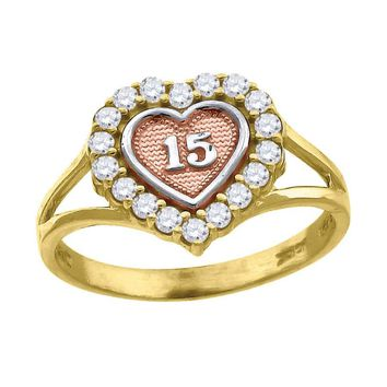 Heart Sweet 15 / 15 Anos Birthday Ring in 10k Yellow & Rose Gold