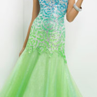 (PRE-ORDER) Blush 2014 Prom Dresses - Lime & Turquoise Strapless Sequin Prom Gown