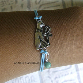 Bast Bracelet. Egyptian Ankh and Bast Bracelet. Cat Bracelet