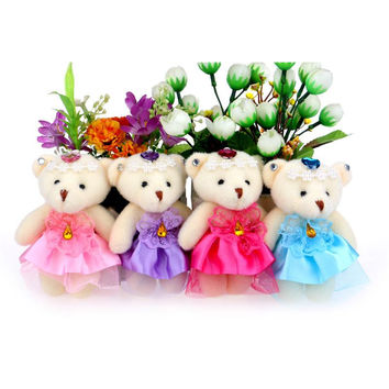 Cute lovely baby girl plush toys doll teddy bear diamonds mini dress lace plush stuffed doll flower bouquets accessory bears Alternative Measures - Brides & Bridesmaids - Wedding, Bridal, Prom, Formal Gown