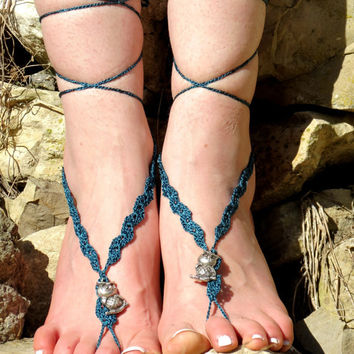 BAREFOOT SANDALS, Teal Blue with metal owl, Teal Nude Summer Shoes, Beach Lace Up Foot Jewelry, Gothic Bohemian Hippie Sandals, Anklets